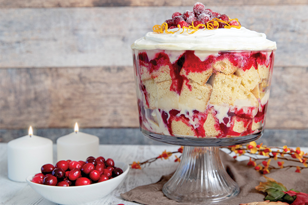 Cranberry Custard Trifle