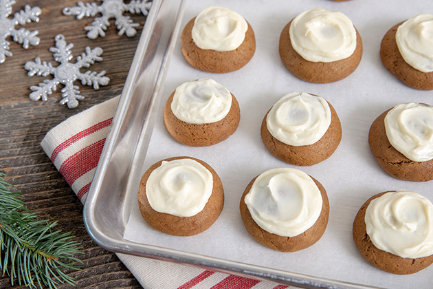 Gingerbread Cookies with Cream Cheese Frosting