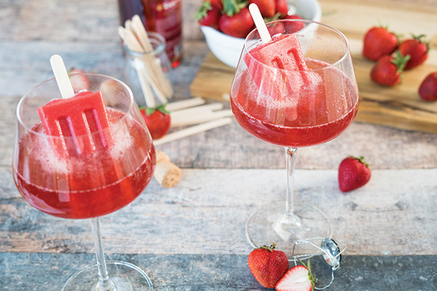 Strawberry Rosé Popsicle Punch