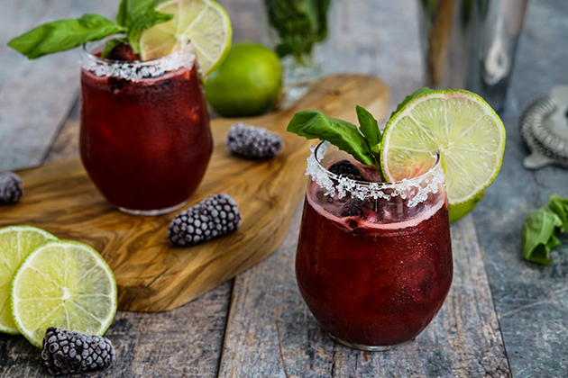 Mardi Gras Blackberry Basil Margarita