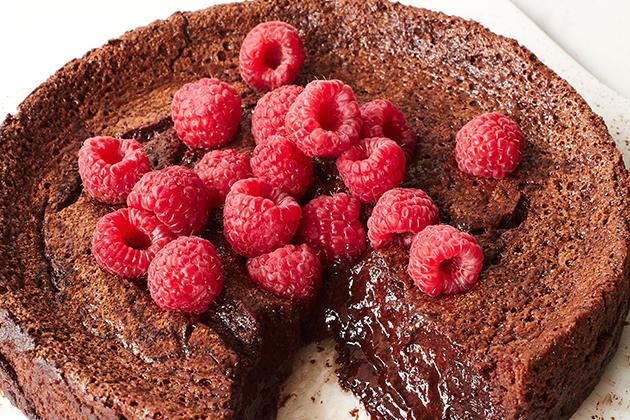 Flourless Chocolate Sunken Lava Cake with Raspberries