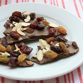 Chocolate Bark with Dried Fruits and Almonds