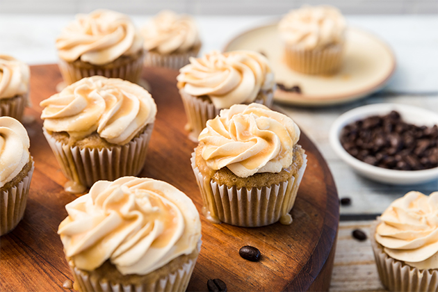 Gluten Free Vanilla-Caramel Latte Cupcakes