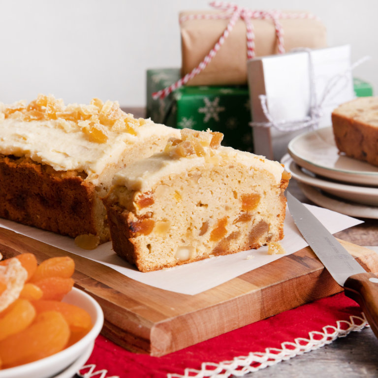 Reduced Sugar Ginger-Apricot Fruit Cake with Hard Sauce Icing