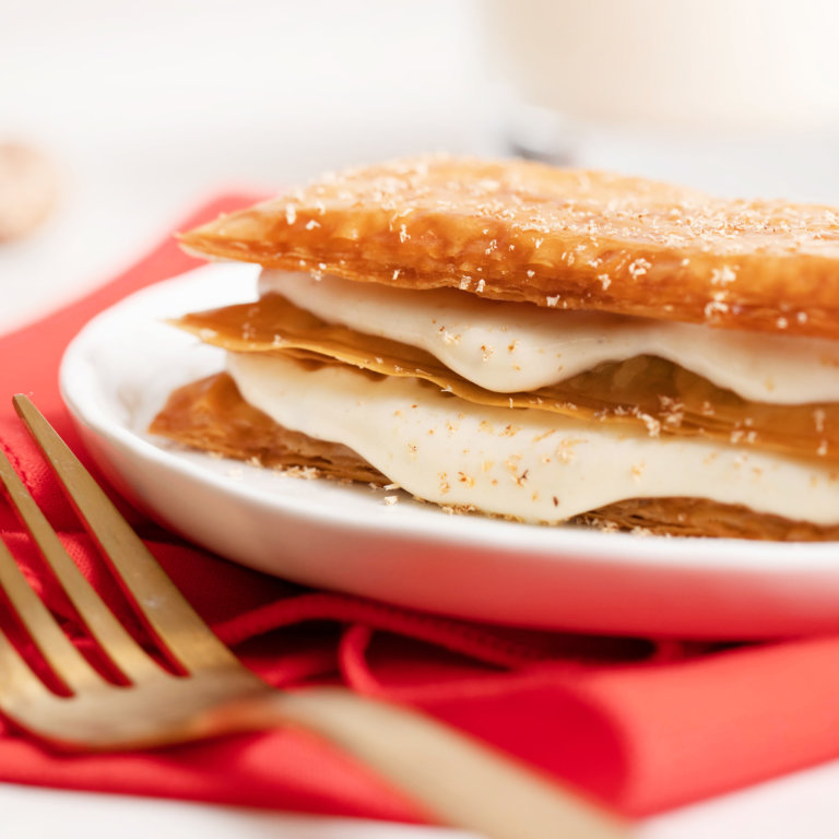 Reduced Sugar Phyllo Napoleons with Eggnog Pastry Cream