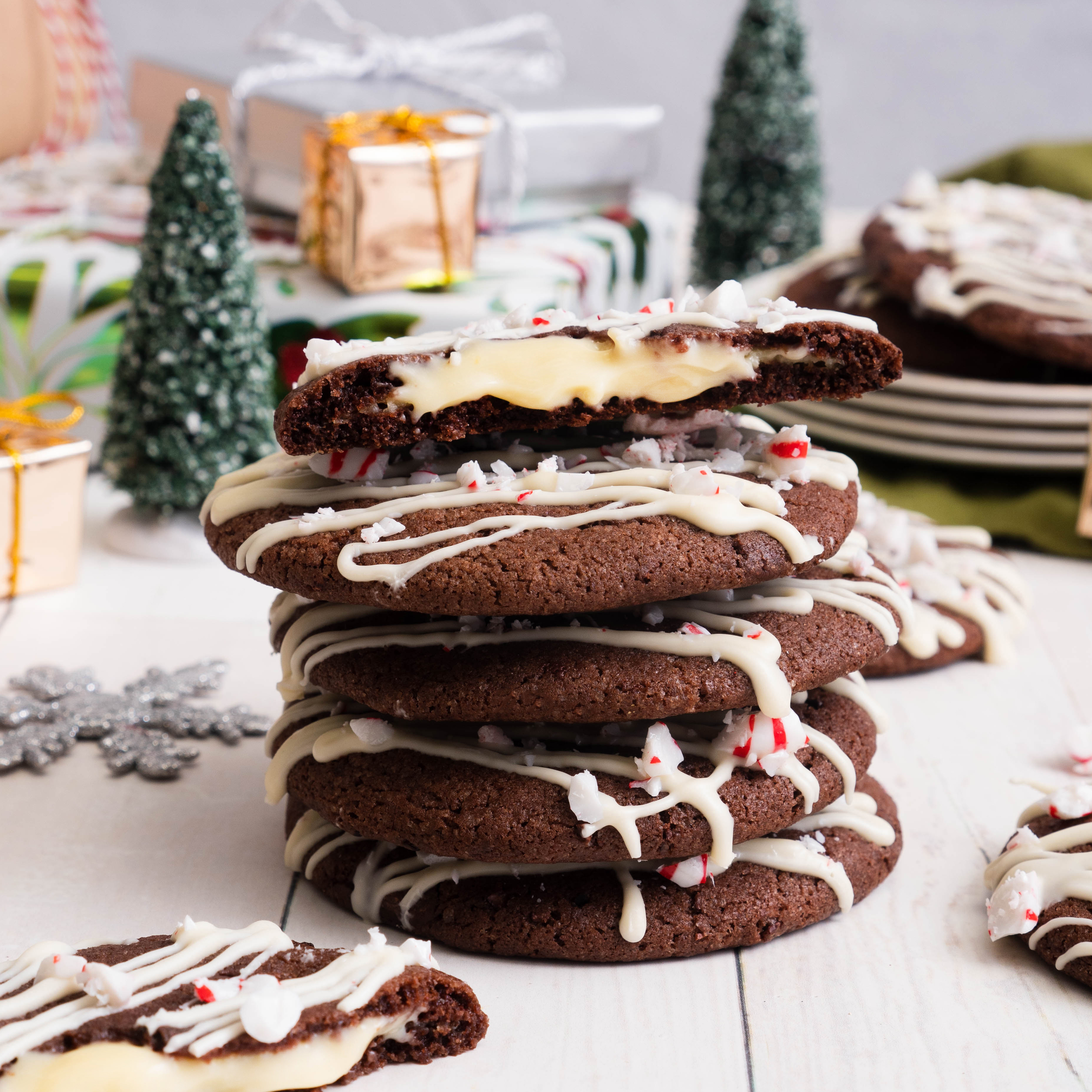 Triple Chocolate Peppermint Molten Cookies
