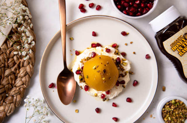 Honey and Saffron-Poached Pears with Vanilla Bean Mascarpone