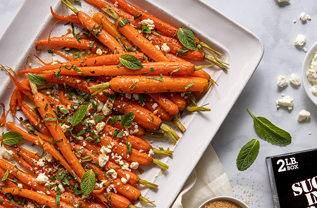 Glazed Baby Carrots with Mint & Feta