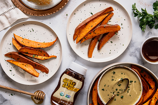Sweet Potato Wedges With Creamy Honey Mustard Dipping Sauce