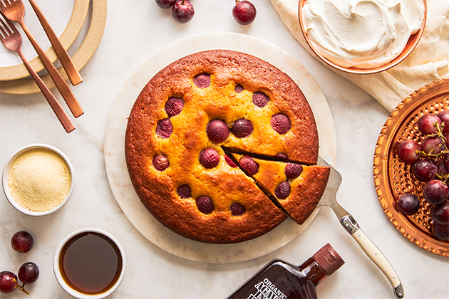 Semolina Olive Oil Cake With Grapes