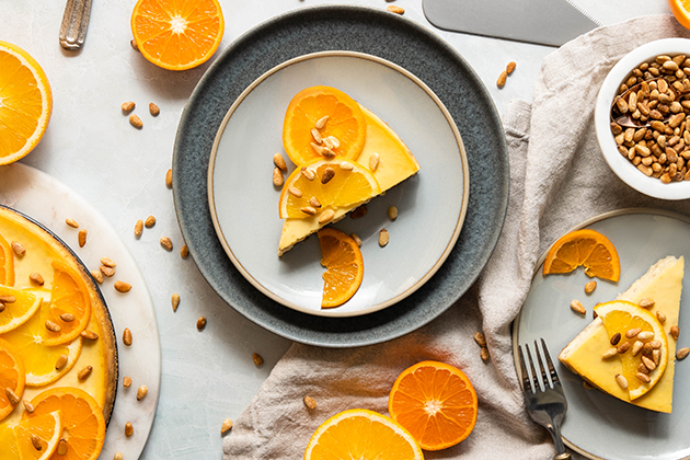 Ricotta Cheesecake With Pine Nuts and Candied Orange