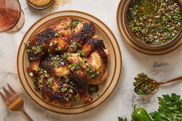 BBQ Sweet and Spicy Brick Chicken with Jalapeño Chimichurri