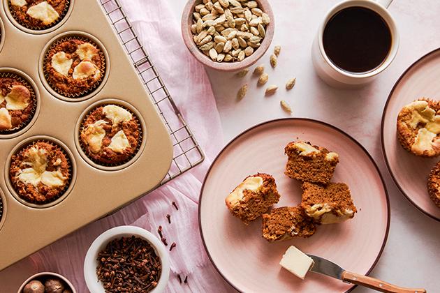 Chai Spiced Pumpkin Swirl Muffins